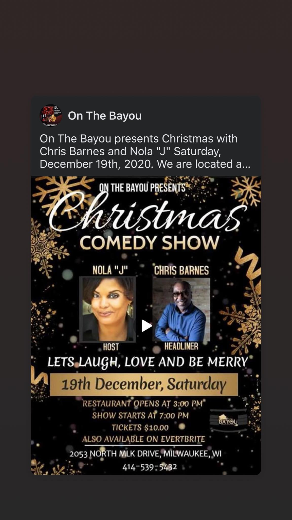 Nola J will be in Milwaukee on 12/19/20 (On the Bayou)